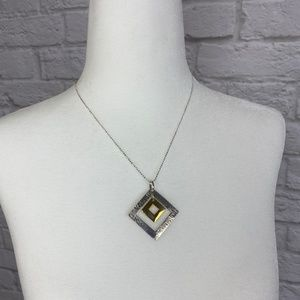 NWOT Silver Necklace Two-Tone Pendant